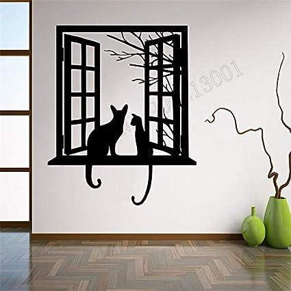 Jxllcd Vinylkunst Verwijderbare Decoratie Kat Gezien Van Venster Wanddecoratie Schattige Decoratie Sticker Slaapkamer Mode Modern 42x50cm Amazon Nl Babyproducten