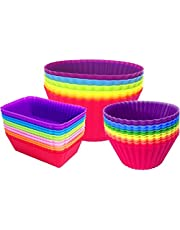 30pcs Silicone Reusable Non-Stick Baking Cups Liners Muffin Cups Cake Molds Cupcake Holder Rainbow for Cake Balls Muffins Cupcakes Candies