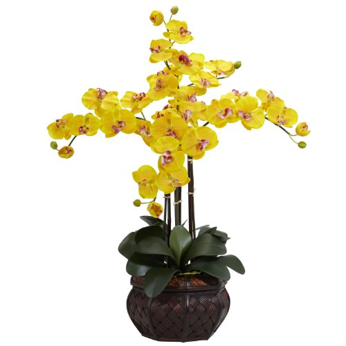 Pot Yellow Artificial (Nearly Natural 1211-YL Phalaenopsis with Decorative Vase Silk Flower Arrangement, Yellow)