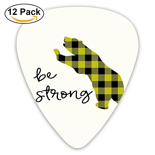 Libra Cool Custom Plaid Bear Buffalo Jazz Thin Heavy Medium Acoustic Guitar Picks Girls 12 Packs Cigar Box Guitar