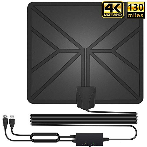 HDTV Antenna, 130+ Miles Long Range Indoor Digital TV Antennas with 2019 Newest Switch Amplifier Signal Booster for Local Free Channels 4k HD 1080P 2016P All Older TV's - 16.5ft Coax Cable (Best Tobacco E Liquid 2019)