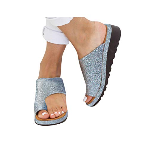 Dressin Women's Sandals 2019 Women Comfy Platform Sandal Shoes Summer Beach Travel Shoes Fashion Sandal Slipper Flip Flop Light Blue ()