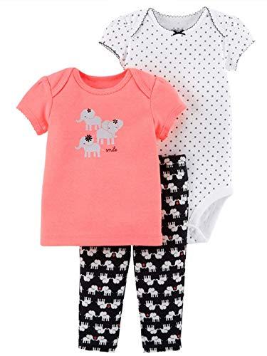 Child of Mine Preemie Baby Girls Smile Elephant 3 pcs Set ()