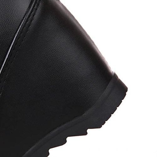 Aiyoumei Femmes Slip-on Augmenté Cales Internes Automne Hiver Sur Le Genou Bottes Solides Avec De La Dentelle Noire