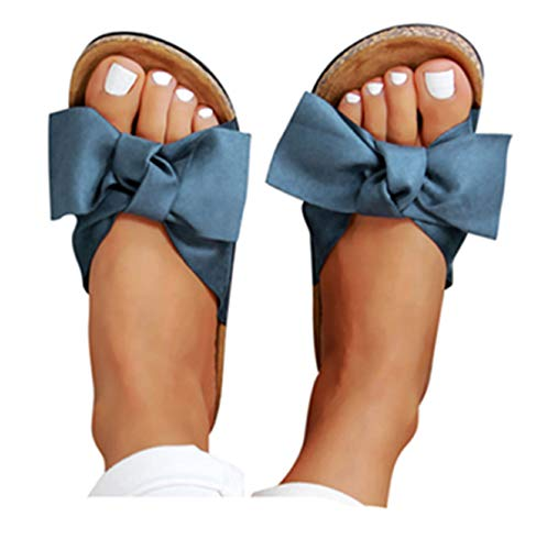 Gyouanime Summer Beach Slipper Bow Tie Sadnals Dress Shoes Womens Leapord Flat Thick Bottom Heel Sandals Slipper Blue