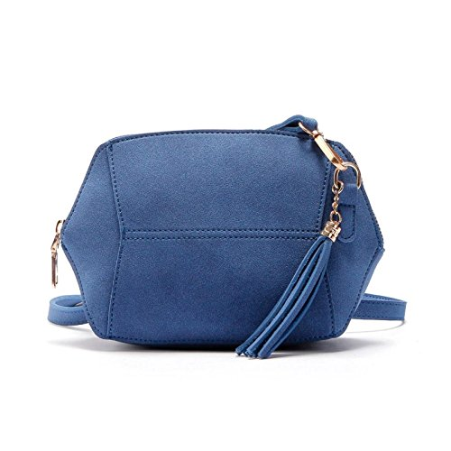 Leather Oval Shoulder Satchel Women Blue Shape Strap Handbag Owill Bag Chain Sd58Wq