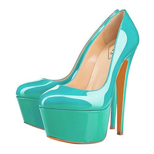 EKS Women's Fancn Super Stiletto Round Toe Platform Party Wedding Pumps Green-Patent CBUJeO