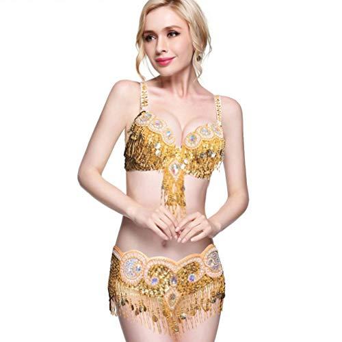 In Wqwlf Rhinestone L Fata Brillante Rilievo Yellow Nappe Mano E A l Cintura Danza Femminile Fatto Professionale Set Ventre Da Del Reggiseno Costume rOqrFA