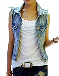MS Womens Summer Sleeveless Outerwear Polo Tops Denim Vest Jeans Jacket