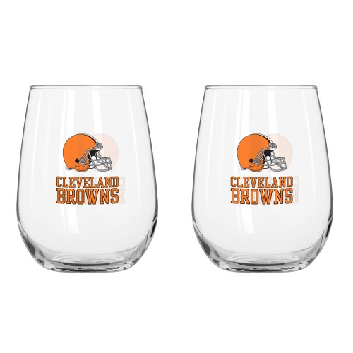 NFL Cleveland Browns Curved Beverage Glass, 16-ounce, 2-Pack