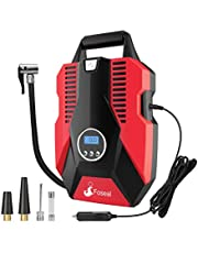Foseal DC 12V Portable Air Compressor for Car,Bicycle, Motorcycle, Balls, Inflatable Pool and Other Inflatables,Digital Display up to 150PSI,Auto Shut Off Accurate Pressure Control, Red