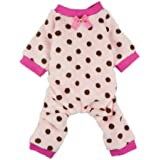 Fitwarm Pink Cute Polka Dots Dog Coat for Pet Dog Pajamas Soft Winter Clothes, Medium