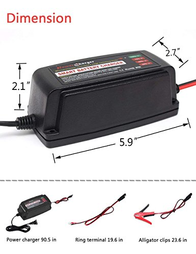 BMK 12V 5A Smart Battery Charger Portable Battery Maintainer with Detachable Alligator/Rings/Clips Fast Charging Waterproof Trickle Charger for Car Boat Lawn Mower Marine Sealed Lead Acid Battery by BMK BLUEMICKEY (Image #7)