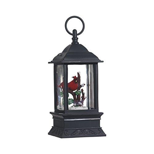 Lighted Snow Globe Lantern: 9.5 Inch, Black Holiday Water Lantern by RAZ Imports (Cardinal) (Globe Lanterns)