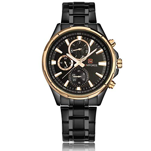 NAVIFORCE Business Meeting Special Stainless Steel Chronograph Watch for Men 9089 - Black Rosegold (B07KN621HN) Amazon Price History, Amazon Price Tracker