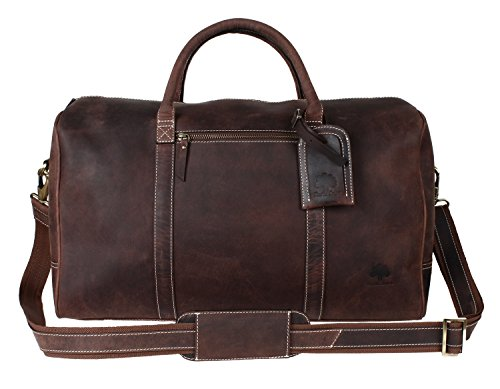 Leather Travel Duffel Bag Overnight Weekend Luggage Carry On Underseat Airplane (Genuine Garment Bag)