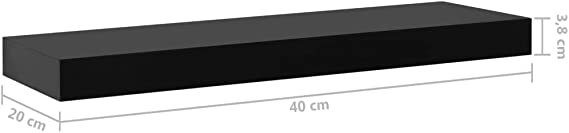 vidaXL 2x Schweberegal Schwarz 40x20x3,8cm Wandboard Wandregal Hängeregal