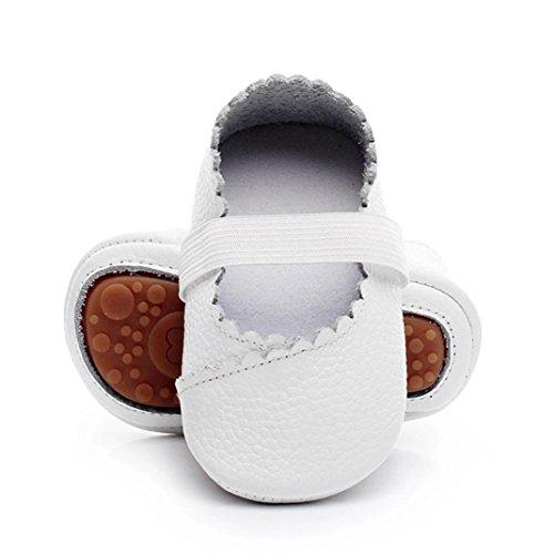 Sunward Print Flower Baby Girls Ballet Princess Dress Mary Jane Toddler Shoes Flats Baby Sandals (White, 0-6Month)