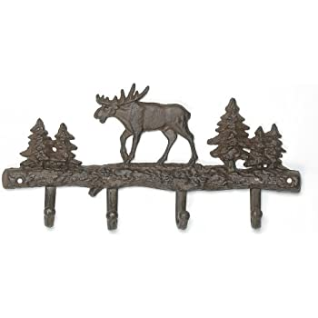 Cast iron moose wall key rack holder 4 hooks for Product key decor8