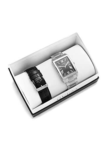 GUESS Factory Men's Silver-Tone Watch - Men Face Rectangular