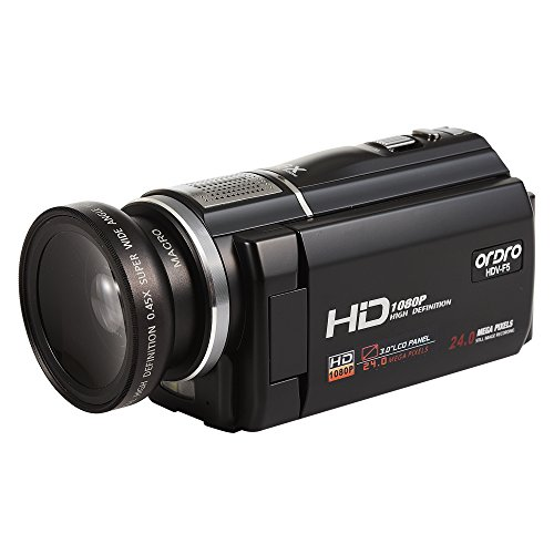 ORDRO HDV-F5 Video Camcorder with Macro Mode and Wide Angle Lens