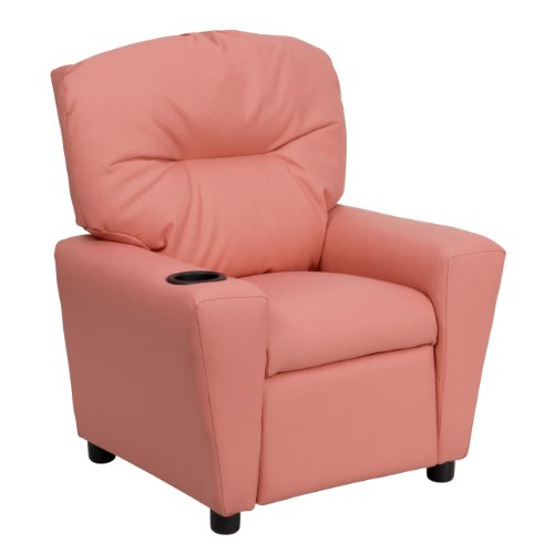 Contemporary *Leathersoft Kids Recliner with Cup Holder Pink