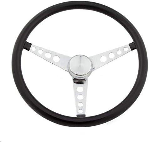 Chrome 3-Spoke Grant 277 Classic 15 Black Vinyl Wheel