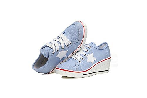 Muffin Primavera Mujer de Lienzo Talón pequeños Talón Baja Otoño Azul Zapatos Talón Lona 35 Color Inferiores Zapatos Comfort Zapatos Talones Ayuda Grueso tamaño de Blancos Zapatos q7t5AwF