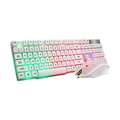 Top Knobs Scroll - RICH-Po Keyboard Rainbow Backlit Wired Gaming Keyboard Mouse Combo, LED 104 Keys USB Ergonomic Keyboard with Mouse for Windows PC Gamer Desktop, Computer (10102WH)