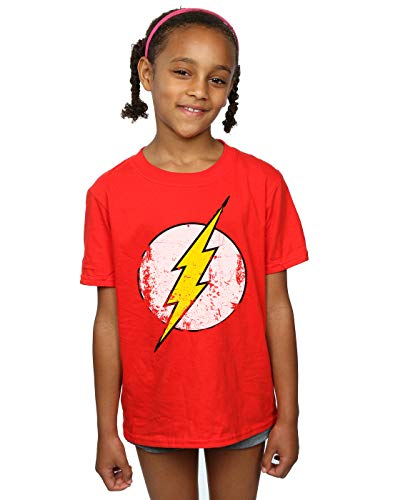 DC Comics Girls Flash Distressed Logo T-Shirt 12-13 Years Red