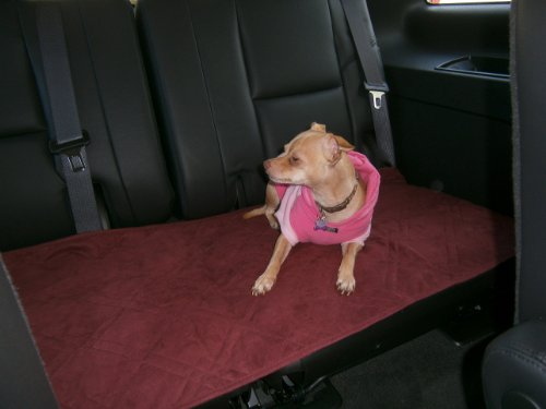 FineHome Set of 4 Quilted Classic Micro Suede Pet Car Seat Pad Cover Protector 20x54 (Burgundy)