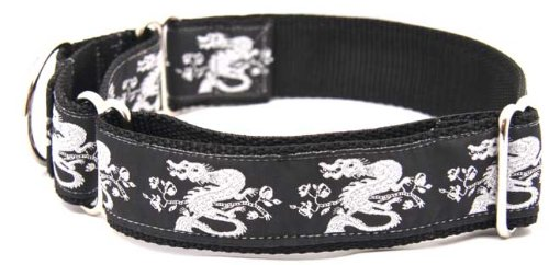 Country Brook Design 1 1/2 Inch Silver Dragon Woven Ribbon Martingale Collar - Large