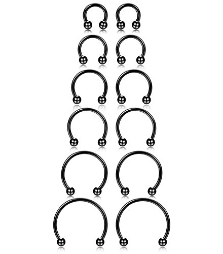 ORAZIO 6 Pairs 16G Stainless Steel Nose Rings Horseshoe Earring Fake Nose Septum Body Piercing 6MM-16MM Black Tone