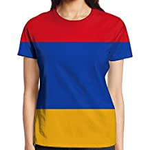Yongchuang Feng Armenian Flag Women's Printed Pullover Casual Tees Short Sleeve T-Shirt For Youth Girls