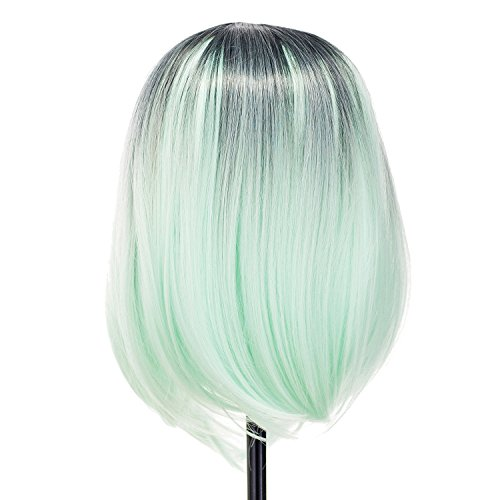 SWACC Ombre Colors Straight Short Hair Bob Wig Synthetic Colorful Cosplay Daily Party Flapper Wig for Women and Kids with Wig Cap (Light Green)