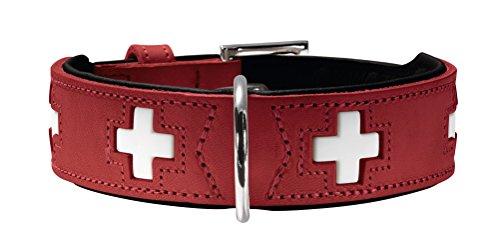 Collar Swiss - Hunter Swiss Organic Leather Dog Collar (42) (Red/White)