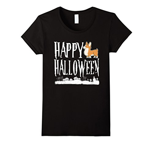 Womens Happy Halloween Corgi T shirt Large Black (Halloween Corgi)
