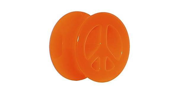 9//16 Acrylic Neon Orange Peace Sign Tunnel Ear Gauge Plug 1 Piece