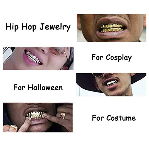 Finrezio Gold Plated Grillz Hip Hop Teeth Top and Bottom Fake Mouth Grill  with 2 Extra Molding Bars