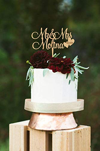 DKISEE Cake Decoration Mr and Mrs Wedding Cake Topper, Surname Cake Toppers for Wedding, Personalized Cake Topper, Wedding Mr & Mrs Cake Topper, -