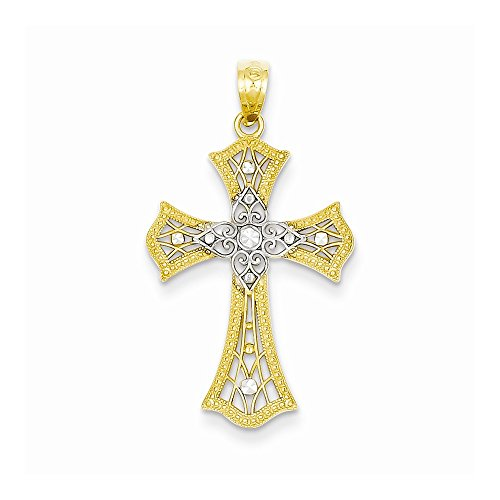 14k Rhodium Dia-Cut Cross Pendant, Best Quality Free Gift Box