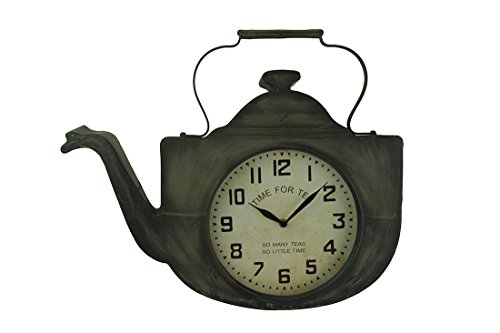 Metal Wall Clocks Tea Pot Shaped Time for Tea Wall Clock 20 X 16.5 X 3 Inches Gray