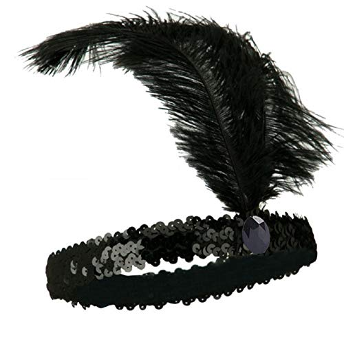 Mrotrida Sequins Feather Headpiece 1920s Carnival Party Event Vintage Headband Flapper Black -