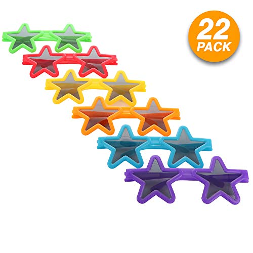 Ram-Pro Star Sunglasses Party Slotted Durable Children Eye Wear for Prop Favors Photo Booth Plastic Assorted Color Shades Costumes Cosplay Glasses for Kids & Adults (22 Pcs)]()
