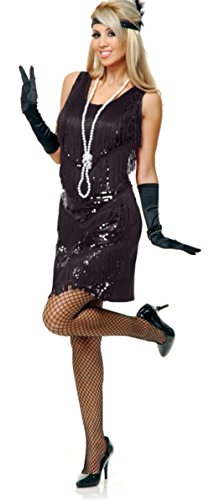 Charades Women's Four Tier Flapper Dress, Black, Small ()