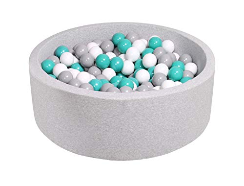 MeowBaby 35x11.5in/200 Balls Included ∅ 2.75in Foam Ball Pit for Baby Kids Soft Round Ball Pool Children Toddler Playpen Made in EU Light Grey: Turquoise/Grey/White