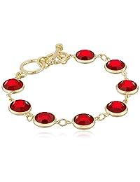 1928 Jewelry 14k Gold Dipped Red Swarovski Elements Toggle Strand Bracelet