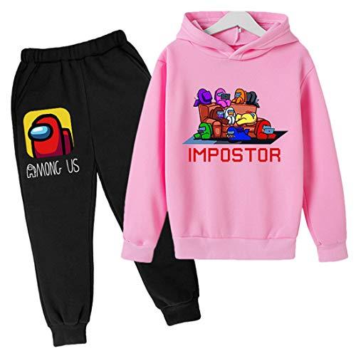 LIYIMING Kids Among us Pullover Hoodie en Sweatpants 2-delige outfit sweatshirt set voor jongens jogger set