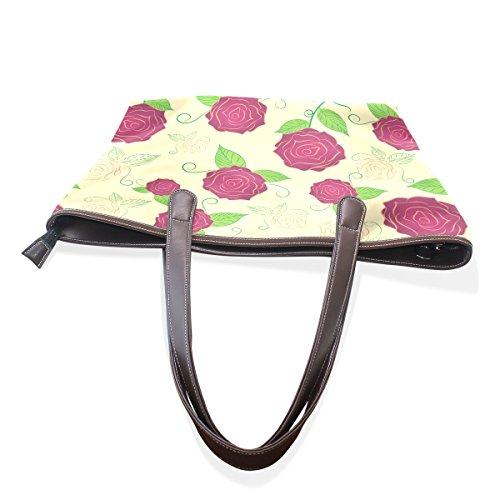 COOSUN Womens Blumenmuster Pu Leder Große Einkaufstasche Griff Umhängetasche