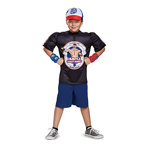 John Cena Classic Muscle WWE Costume, Black, Medium (7-8) by Disguise
